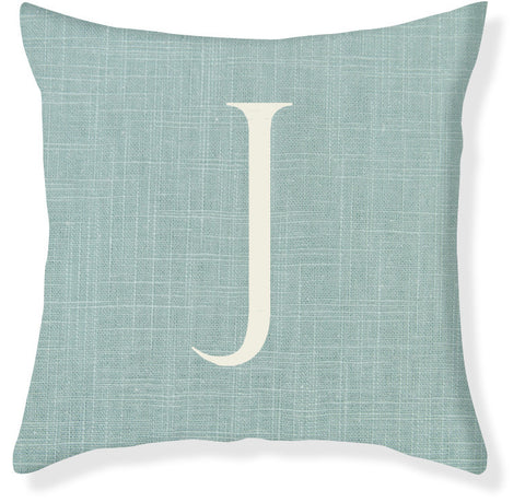 1-Letter Block Aqua and Cream Monogram Pillow Cover