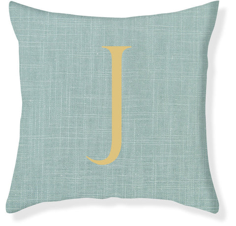 1-Letter Block Aqua and Gold Monogram Pillow Cover
