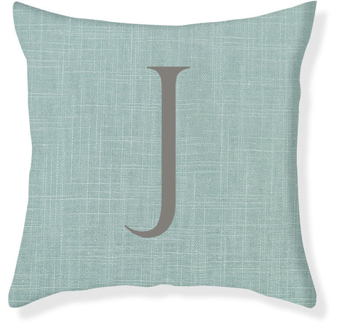1-Letter Block Aqua and Gray Monogram Pillow Cover