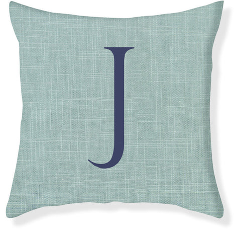 1-Letter Block Aqua and Navy Monogram Pillow Cover