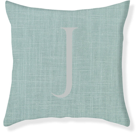 1-Letter Block Aqua and Silver Monogram Pillow Cover