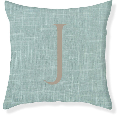 1-Letter Block Aqua and Taupe Monogram Pillow Cover