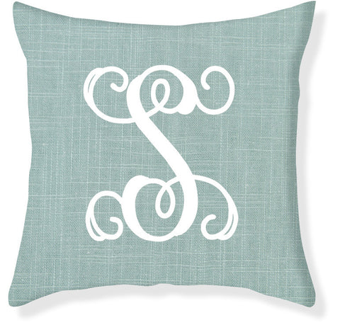 1-Letter Scroll Aqua and White Monogram Pillow Cover