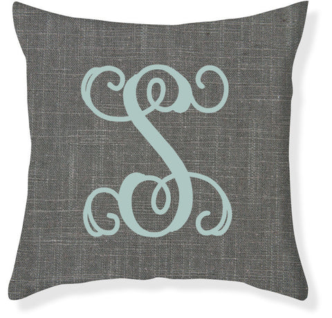 1-Letter Scroll Charcoal and Aqua Monogram Pillow Cover