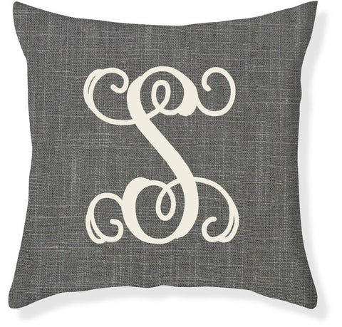 1-Letter Scroll Charcoal and Cream Monogram Pillow Cover