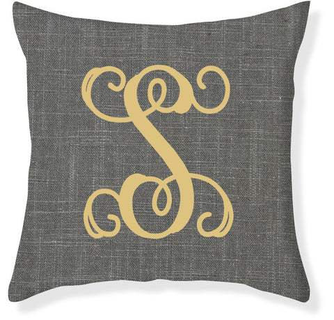 1-Letter Scroll Charcoal and Gold Monogram Pillow Cover