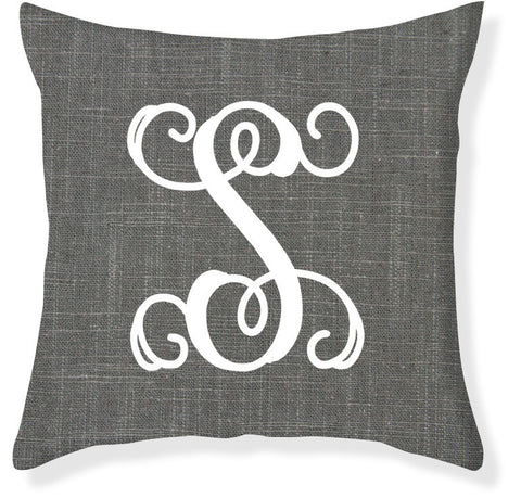 1-Letter Scroll Charcoal and White Monogram Pillow Cover