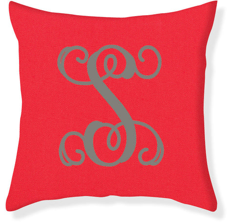 1-Letter Scroll Coral and Gray Monogram Pillow Cover