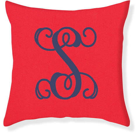 1-Letter Scroll Coral and Navy Monogram Pillow Cover