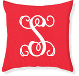 1-Letter Scroll Coral and White Monogram Pillow Cover