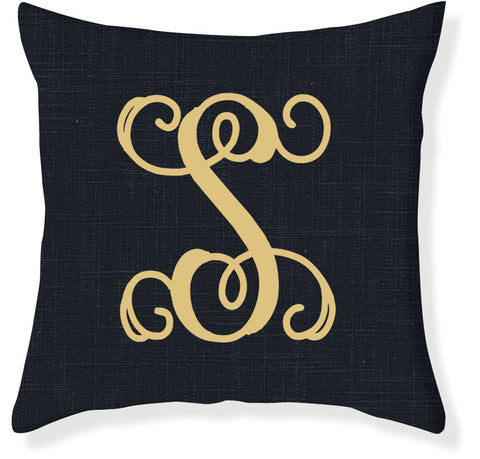 1-Letter Scroll Navy and Gold Monogram Pillow Cover