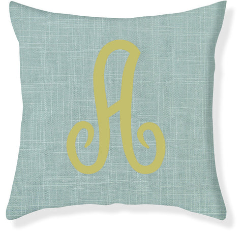 1-Letter Juliette Aqua and Citron Monogram Pillow Cover