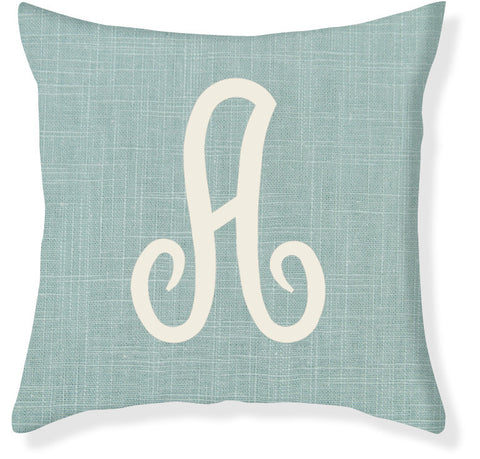 1-Letter Juliette Aqua and Cream Monogram Pillow Cover