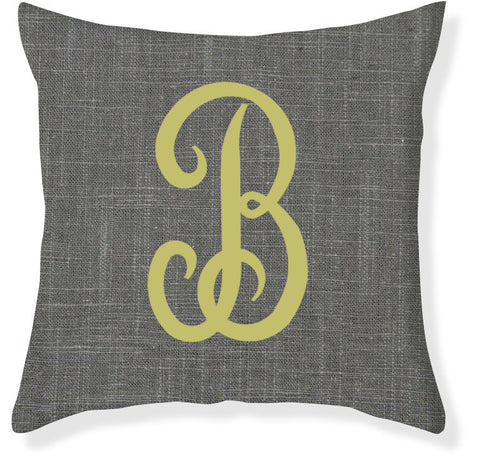 1-Letter Juliette Charcoal and Citron Monogram Pillow Cover