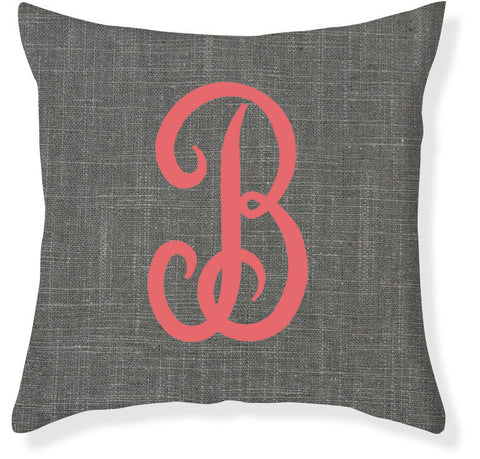 1-Letter Juliette Charcoal and Coral Monogram Pillow Cover