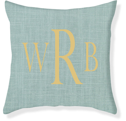 3-Letter Block Aqua and Gold Monogram Pillow Cover