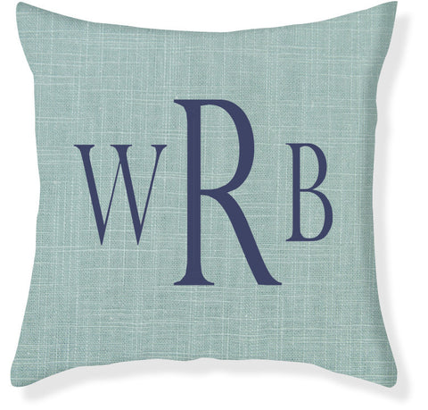 3-Letter Block Aqua and Navy Monogram Pillow Cover