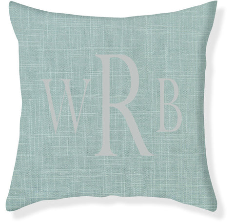 3-Letter Block Aqua and Silver Monogram Pillow Cover