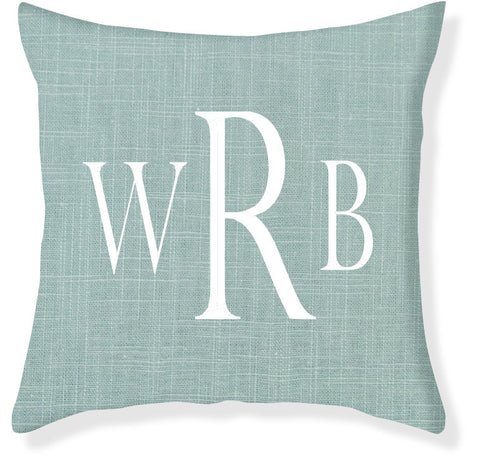 3-Letter Block Aqua and White Monogram Pillow Cover