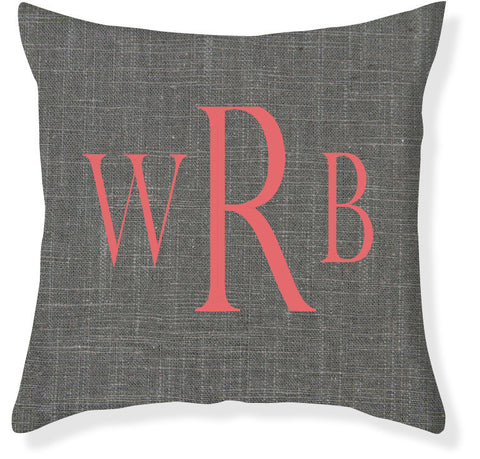 3-Letter Block Charcoal and Coral Monogram Pillow Cover