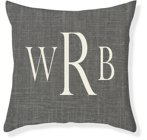 3-Letter Block Charcoal and Cream Monogram Pillow Cover