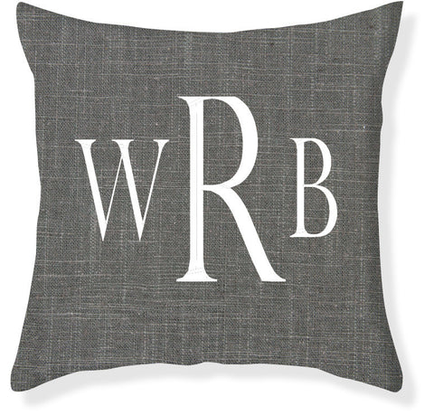 3-Letter Block Charcoal and White Monogram Pillow Cover