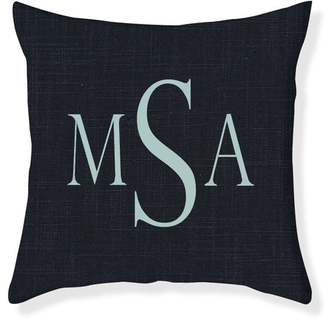 3-Letter Block Navy and Aqua Monogram Pillow Cover