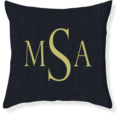 3-Letter Block Navy and Citron Monogram Pillow Cover