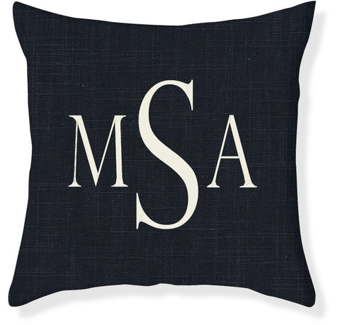 3-Letter Block Navy and Cream Monogram Pillow Cover