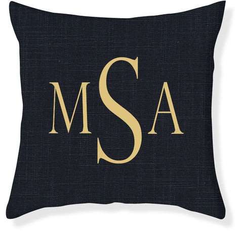 3-Letter Block Navy and Gold Monogram Pillow Cover