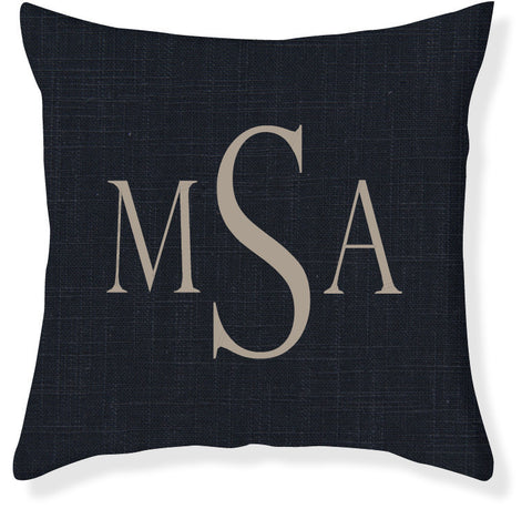 3-Letter Block Navy and Taupe Monogram Pillow Cover