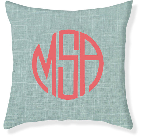 3-Letter Circle Aqua and Coral Monogram Pillow Cover