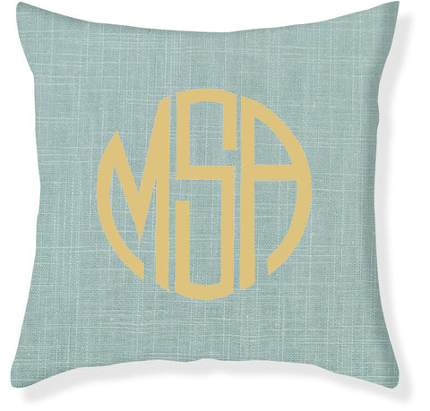 3-Letter Circle Aqua and Gold Monogram Pillow Cover