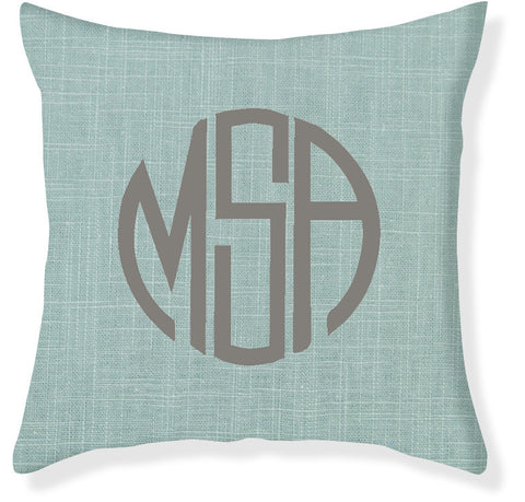3-Letter Circle Aqua and Gray Monogram Pillow Cover