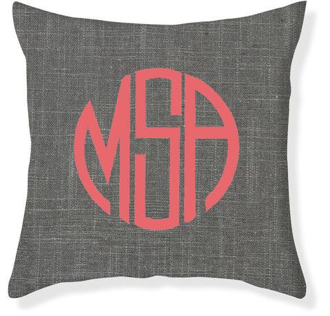 3-Letter Circle Charcoal and Coral Monogram Pillow Cover