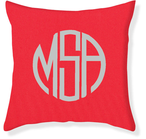 3-Letter Circle Coral and Silver Monogram Pillow Cover