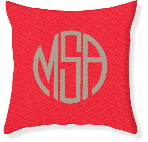 3-Letter Circle Coral and Taupe Monogram Pillow Cover