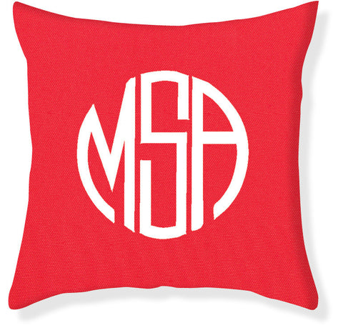 3-Letter Circle Coral and White Monogram Pillow Cover