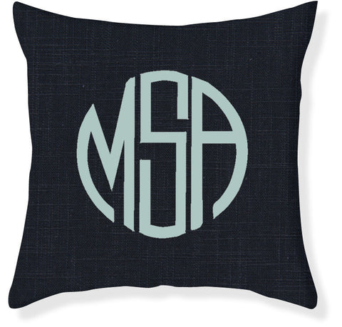 3-Letter Circle Navy and Aqua Monogram Pillow Cover