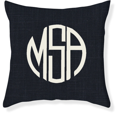 3-Letter Circle Navy and Cream Monogram Pillow Cover