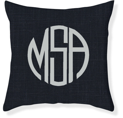 3-Letter Circle Navy and Silver Monogram Pillow Cover