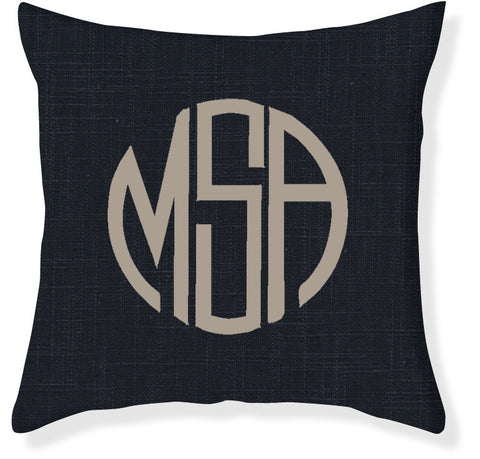 3-Letter Circle Navy and Taupe Monogram Pillow Cover