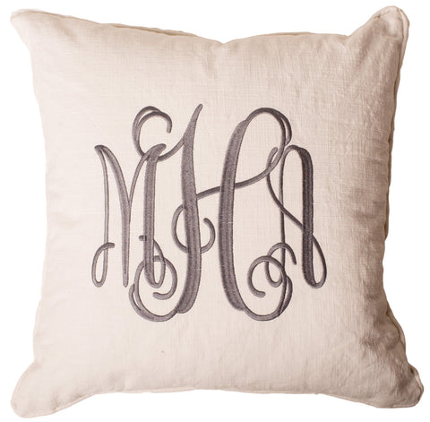 3-Letter Scroll Cream and Gray Monogram Pillow Cover