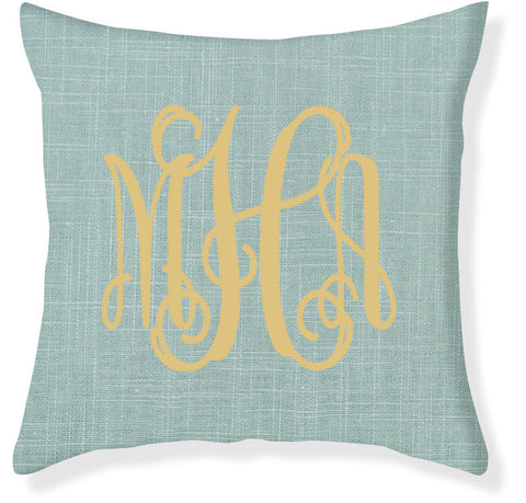 3-Letter Scroll Aqua and Gold Monogram Pillow Cover