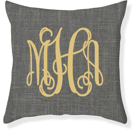3-Letter Scroll Charcoal and Citron Monogram Pillow Cover