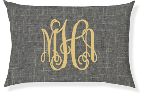 3-Letter Scroll Charcoal and Gold Monogram Pillow Cover