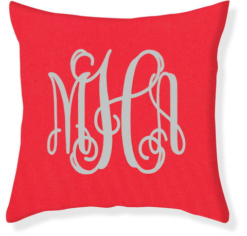 3-Letter Scroll Coral and Silver Monogram Pillow Cover