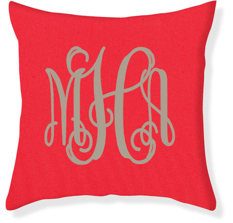 3-Letter Scroll Coral and Taupe Monogram Pillow Cover