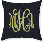 3-Letter Scroll Navy and Citron Monogram Pillow Cover