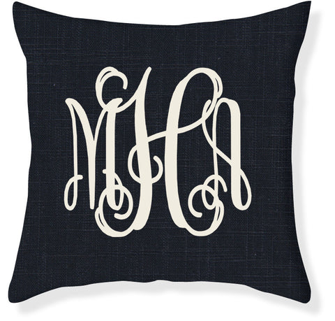 3-Letter Scroll Navy and Cream Monogram Pillow Cover